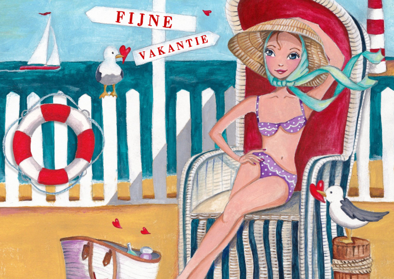 Vakantiekaarten - Fijne Vakantie Strand Illustratie