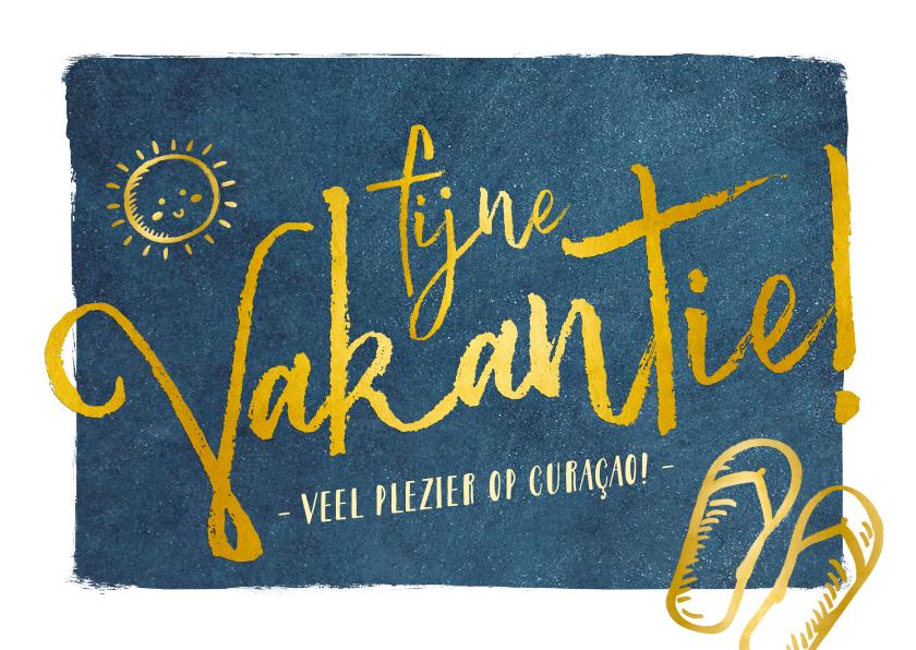 Vakantiekaarten - Fijne vakantie wenskaart donkerblauw met gouden letters