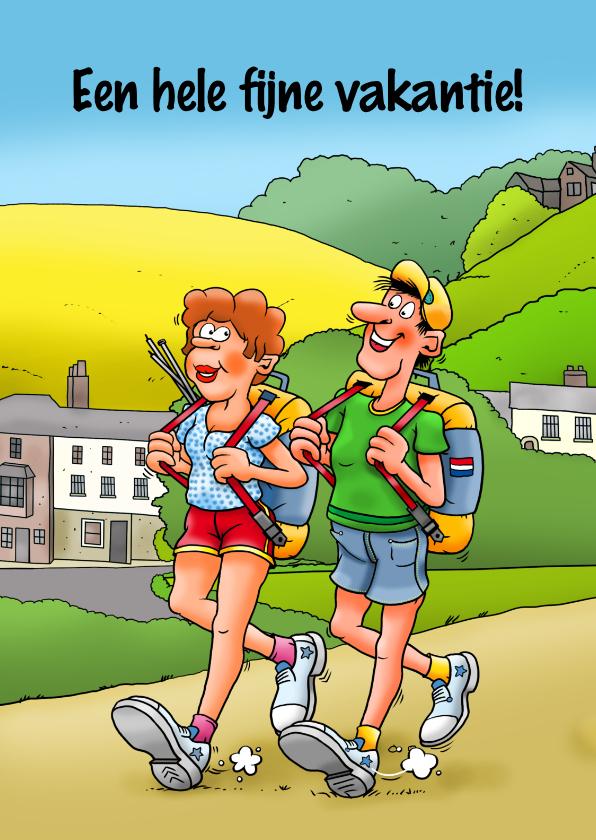 Vakantiekaarten - Grappige vakantiekaart met kamperende wandelaars