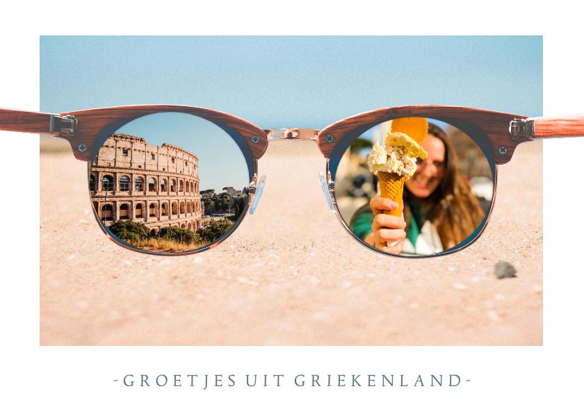 Vakantiekaarten - Grappige vakantiekaart met zonnebril met daarin eigen foto's