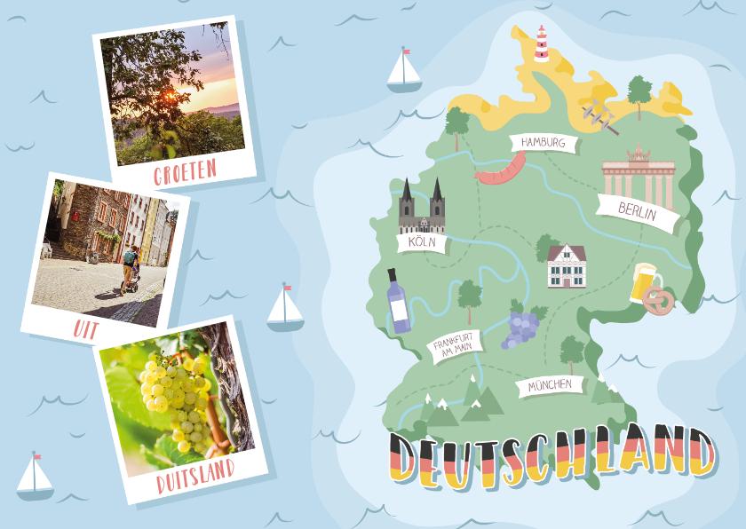 Vakantiekaarten - Groeten uit Duitsland met grappige landkaart en fotocollage