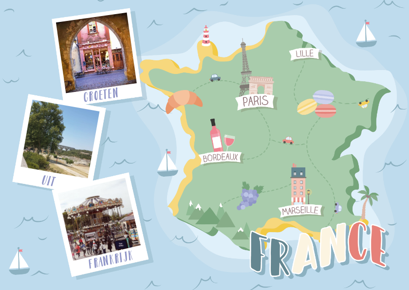 Vakantiekaarten - Groeten uit Frankrijk met grappige landkaart en fotocollage