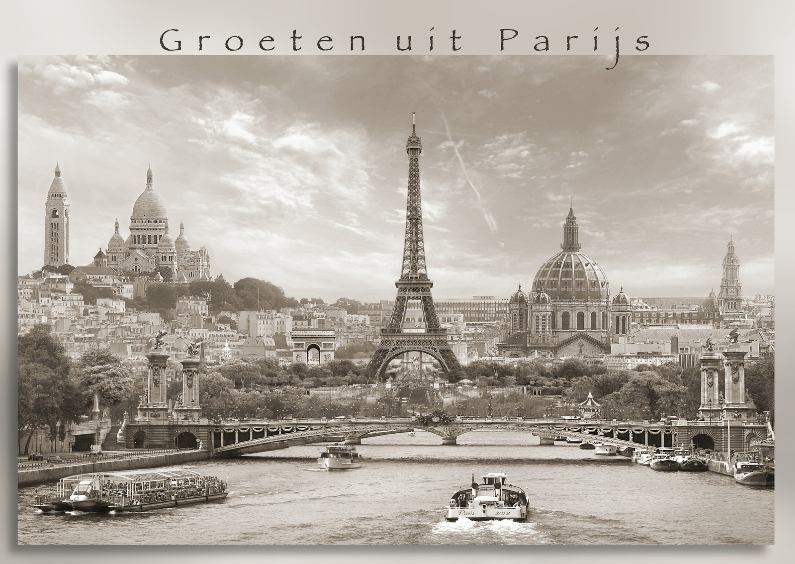 Vakantiekaarten - Groeten uit Parijs - sepia -