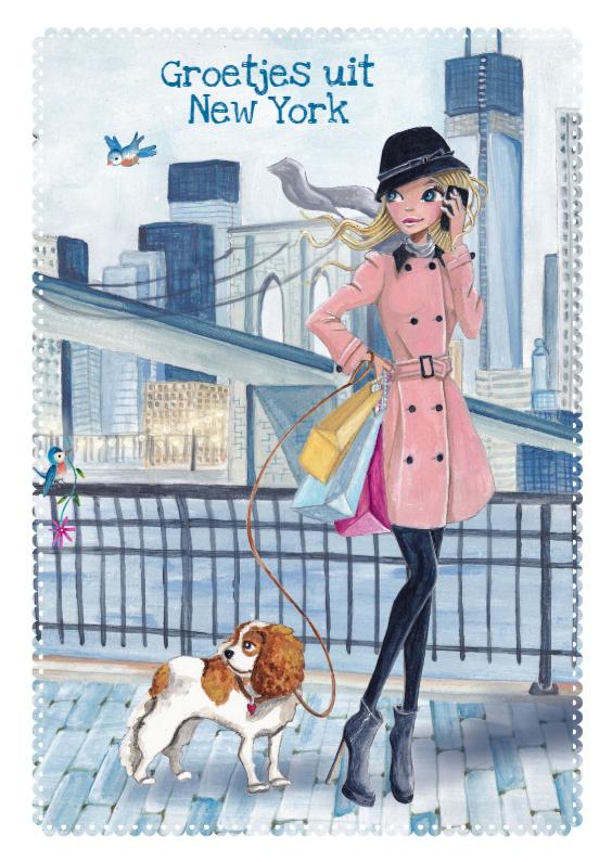 Vakantiekaarten - Groetjes uit New York Illustratie meisje