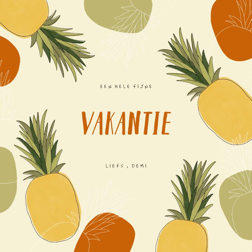 Vakantiekaarten - Hippe vakantiekaart ananassen abstract tropisch patroon