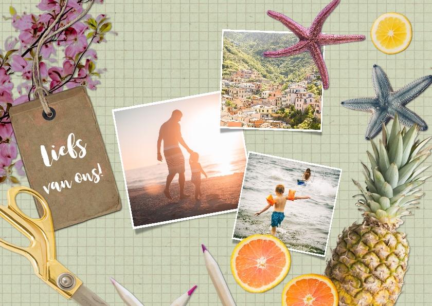 Vakantiekaarten - Hippe vakantiekaart met collage van vakantiefoto's.
