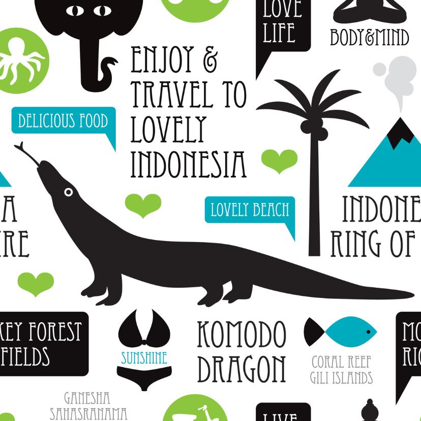 Vakantiekaarten - Indonesië reizen illustratie kaart