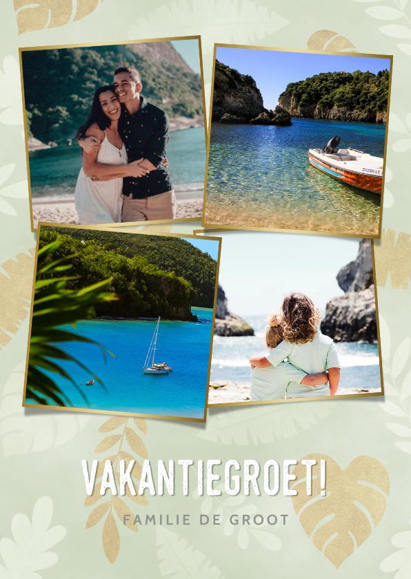 Vakantiekaarten - Leuke fotocollage vakantiekaart met gouden plantjes