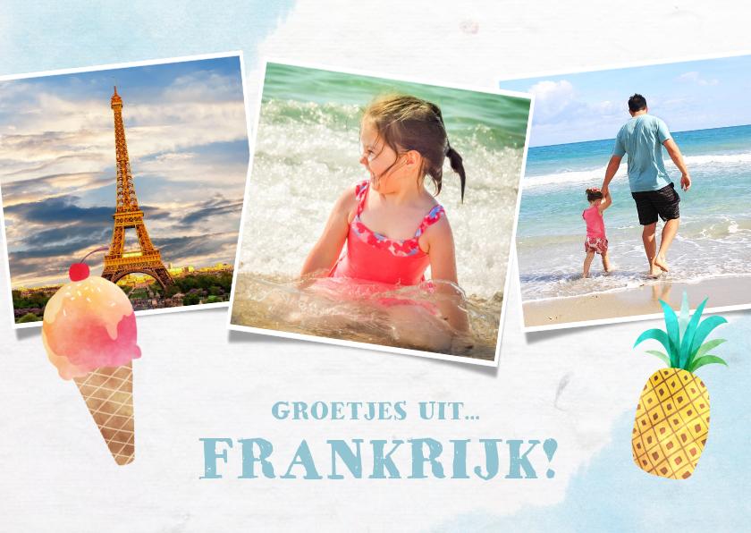 Vakantiekaarten - Leuke frisse vakantiekaart met zeesfeer, foto's en ijsje