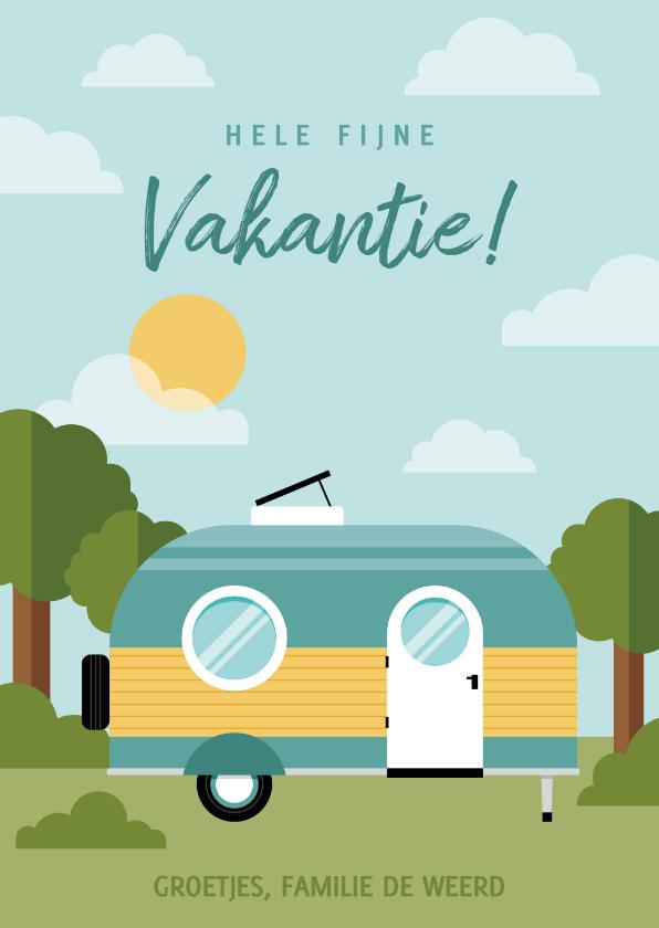 Vakantiekaarten - Leuke vakantiekaart met caravan en omgeving
