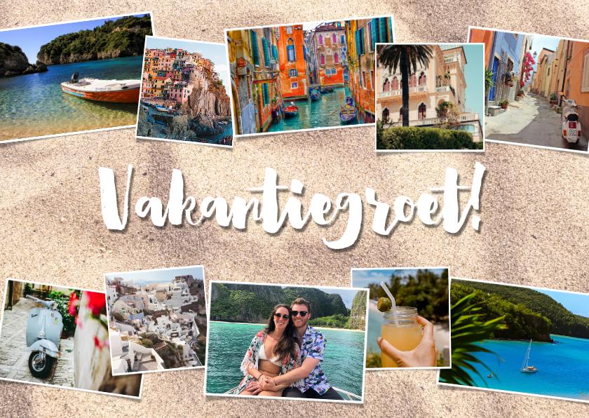 Vakantiekaarten - Leuke vakantiekaart met fotocollage, zand en typografie