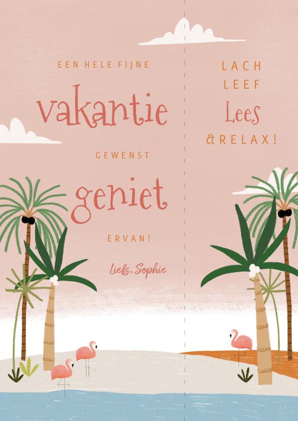 Vakantiekaarten - Leuke vakantiekaart tropische boekenlegger met flamingo's
