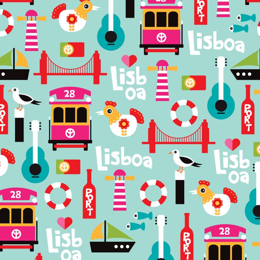 Vakantiekaarten - Lissabon vakantiekaart patroon