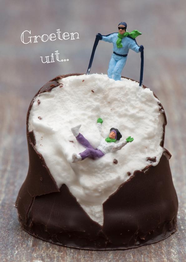 Vakantiekaarten - Miniatuur skiërs