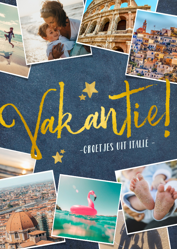 Vakantiekaarten - Stijlvolle donkerblauwe fotocollage vakantiekaart met goud