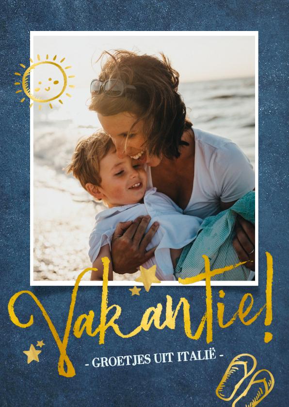 Vakantiekaarten - Stijlvolle vakantiekaart donkerblauw met goud en grote foto