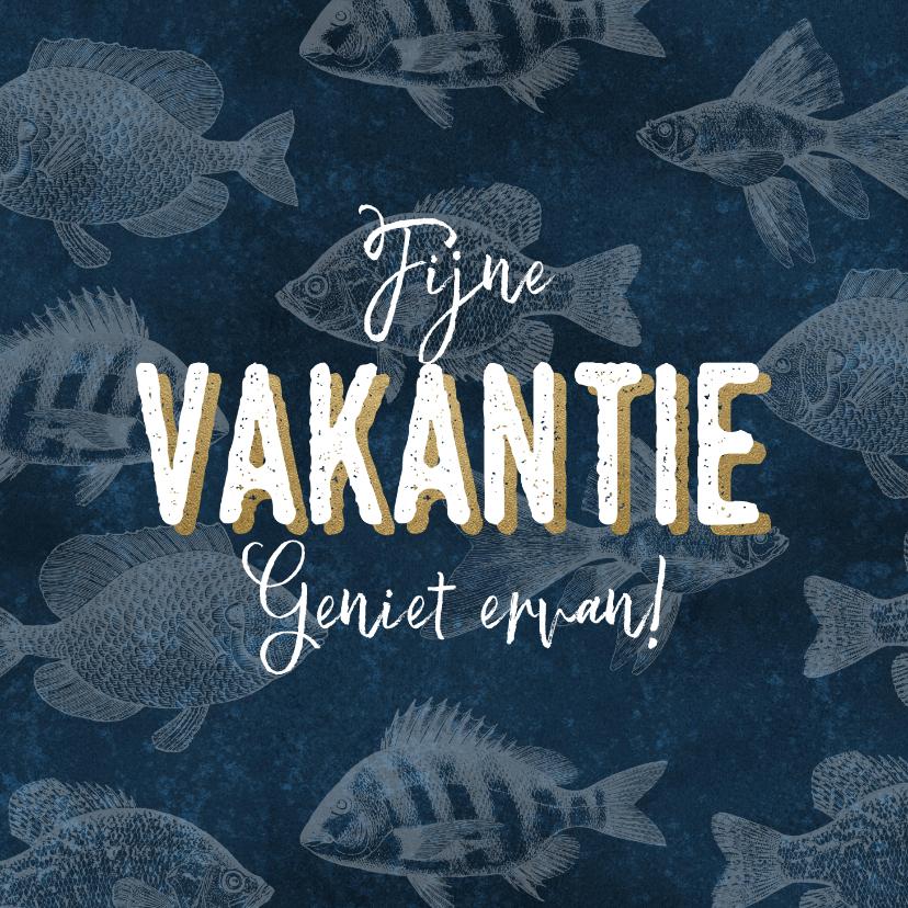 Vakantiekaarten - Stijlvolle vakantiekaart met vissenpatroon fijne vakantie