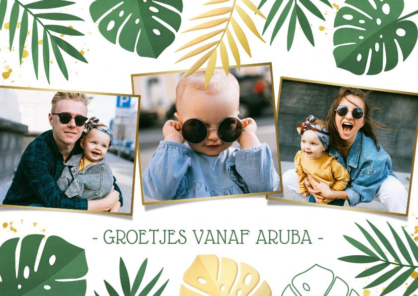 Vakantiekaarten - Tropische jungle vakantiekaart met Monstera bladeren en foto