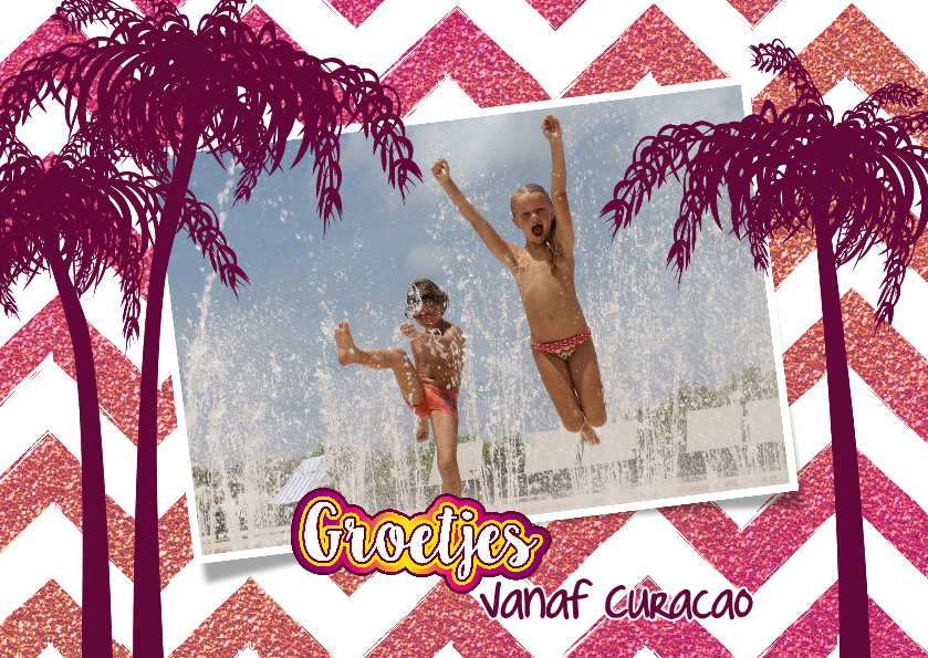 Vakantiekaarten - Vakantie groetjes hippe vrolijke foto kaart