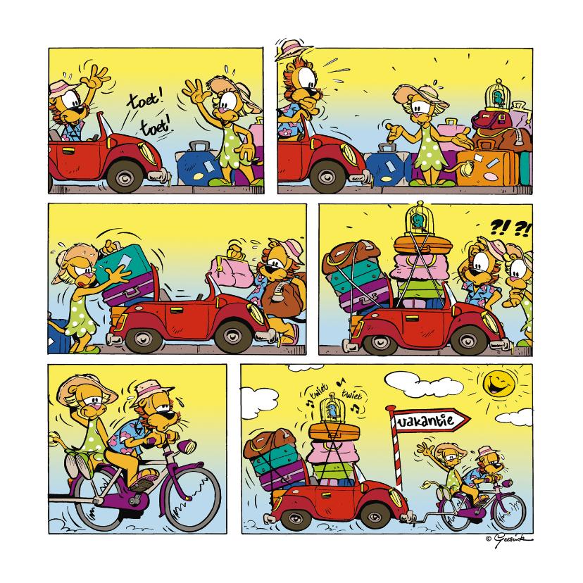 Vakantiekaarten - Vakantie Loeki auto met fiets
