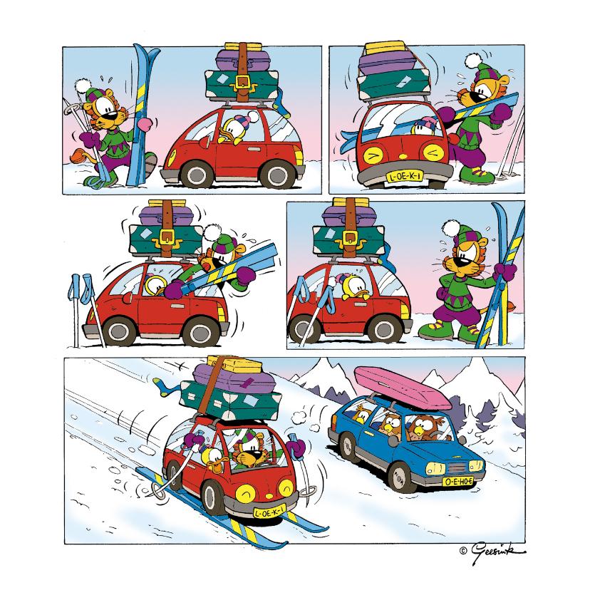 Vakantiekaarten - Vakantie Loeki wintersport strip auto