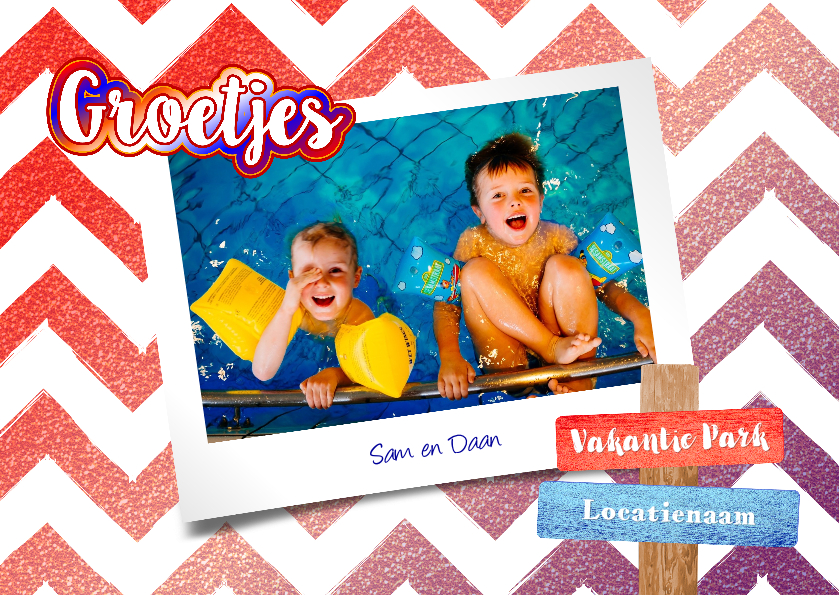 Vakantiekaarten - Vakantie vrolijke hippe fotokaart rood wit blauw glitter