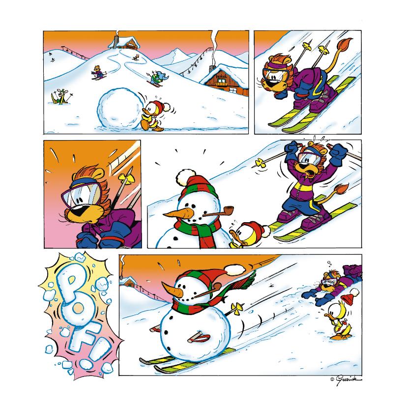 Vakantiekaarten - Vakantie wintersport strip ski piste