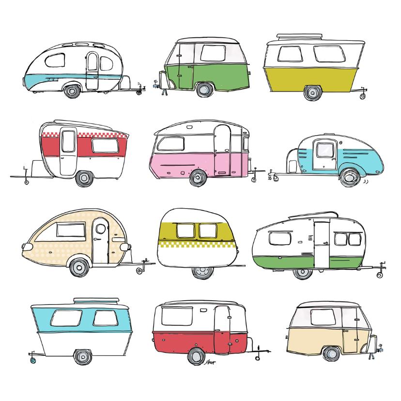 Vakantiekaarten - Vakantiekaart caravan retro