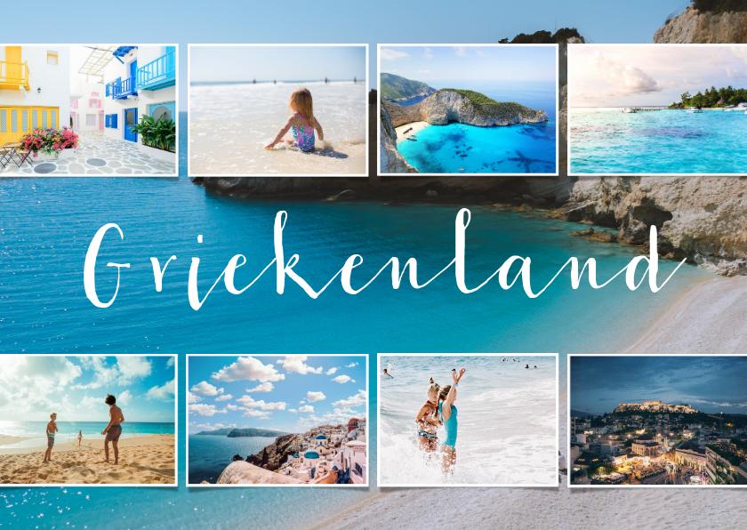 Vakantiekaarten - Vakantiekaart fotocollage 9 foto's met aanpasbaar land