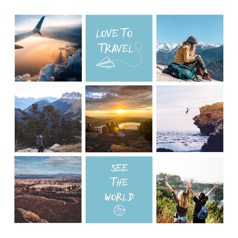 Vakantiekaarten - Vakantiekaart fotocollage 'Love to Travel'