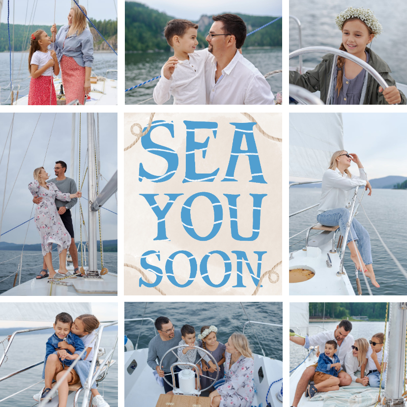 Vakantiekaarten - Vakantiekaart fotocollage sea you soon
