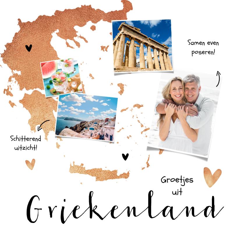 Vakantiekaarten - Vakantiekaart Griekenland stijlvol hip hartjes fotocollage