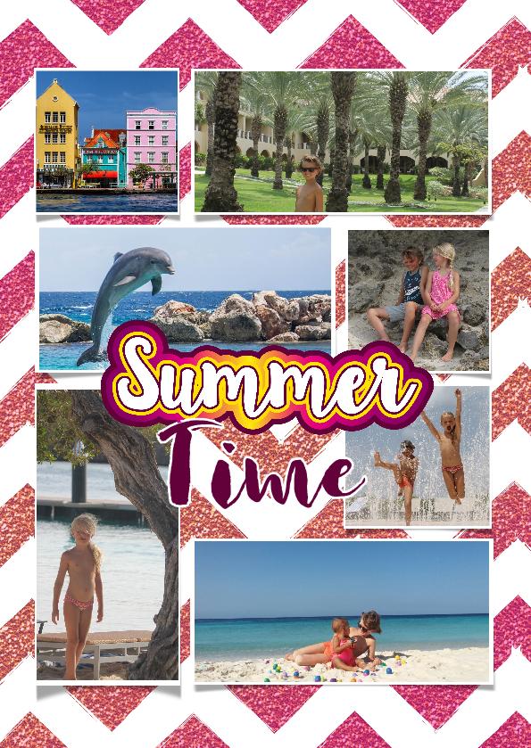 Vakantiekaarten - Vakantiekaart hippe en vrolijke foto collage