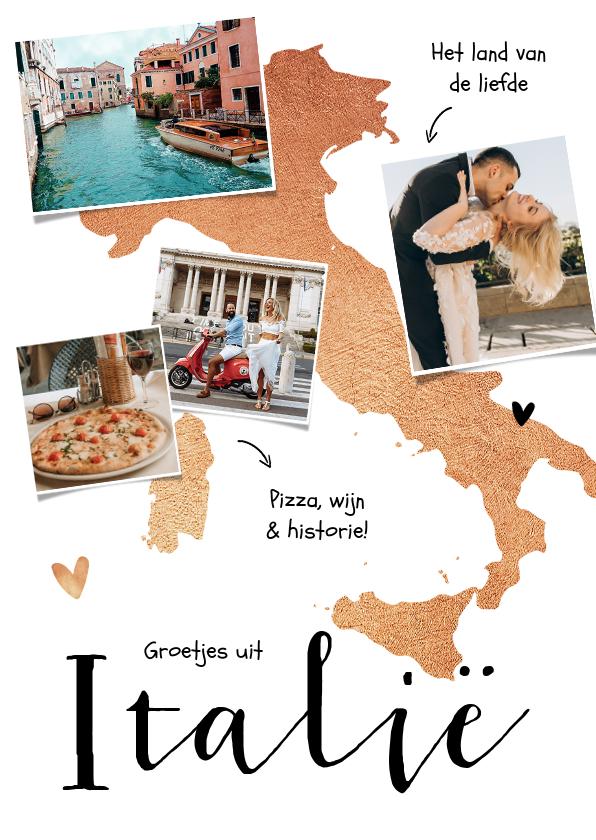 Vakantiekaarten - Vakantiekaart Italië fotocollage goud hartjes
