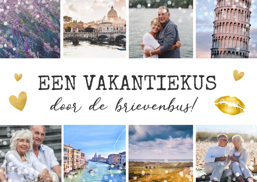 Vakantiekaarten - Vakantiekaart kus door de brievenbus - fotocollage 8 foto's