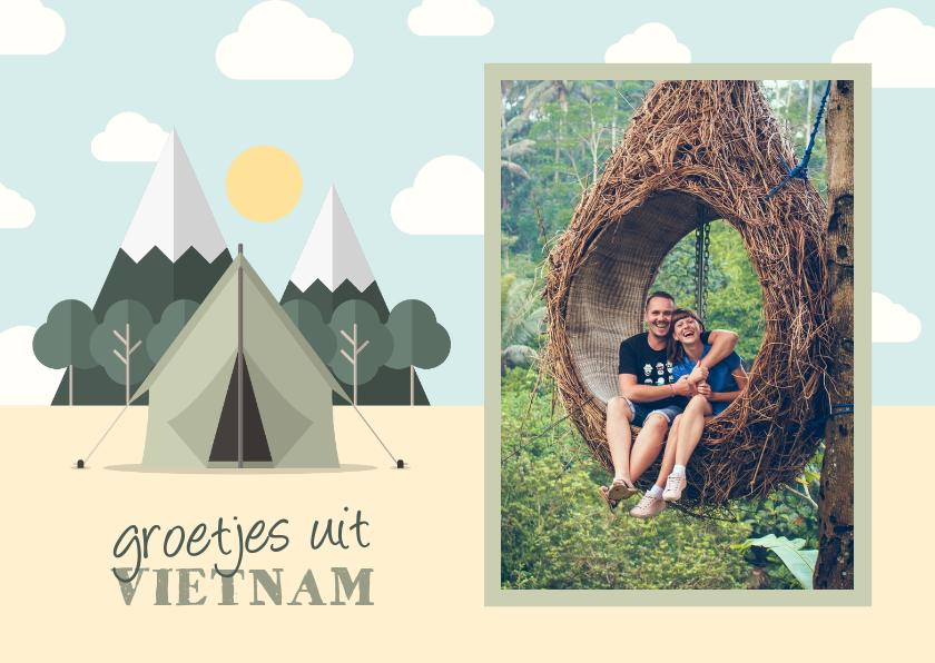Vakantiekaarten - Vakantiekaart met foto en tent met bergen
