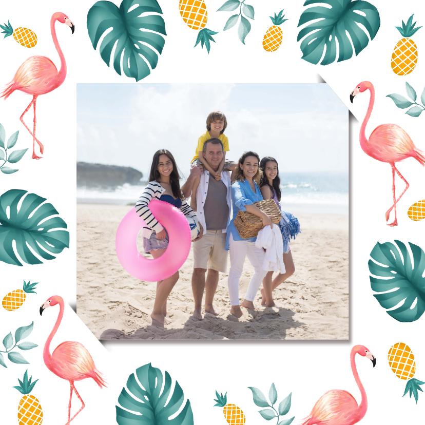 Vakantiekaarten - Vakantiekaart met tropisch kader van flamingo en ananas