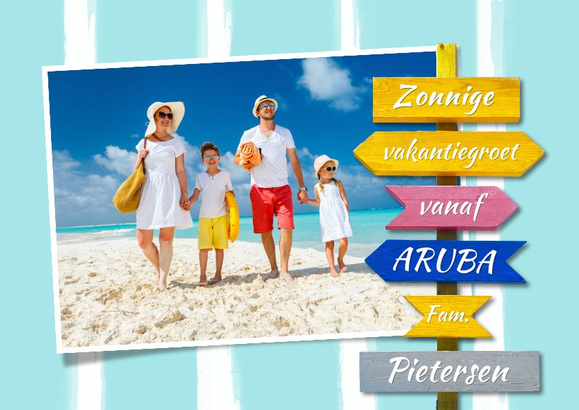 Vakantiekaarten - Vakantiekaart met wegwijzer en aanpasbare achtergrondkleur