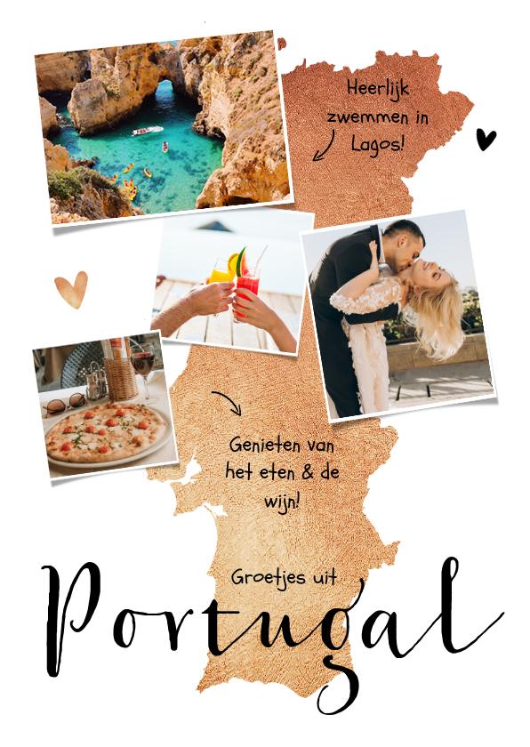 Vakantiekaarten - Vakantiekaart Portugal roségoud fotocollage hartjes