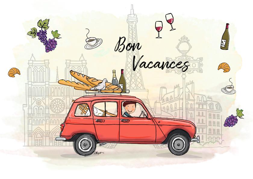 Vakantiekaarten - Vakantiekaart Renault vier rood Parijs