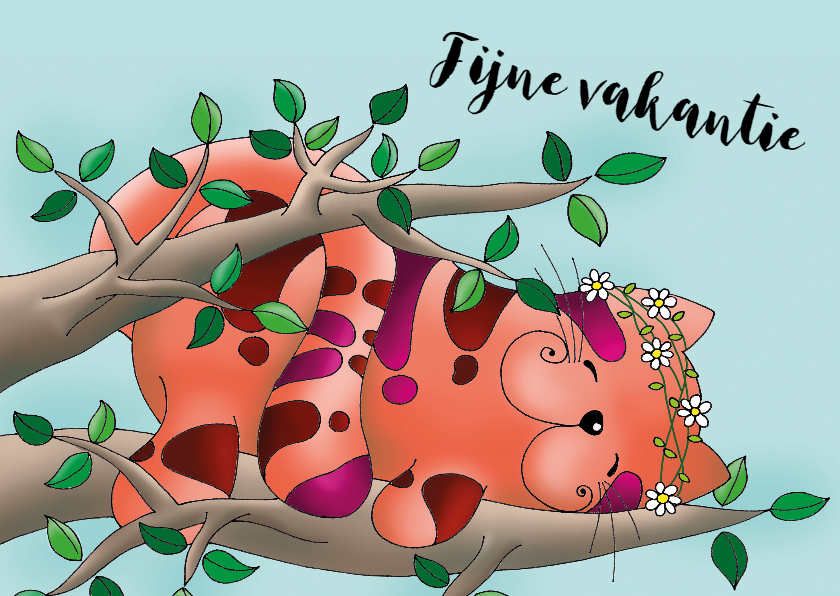 Vakantiekaarten - Vakantiekaart slapend kat in de boom - SK