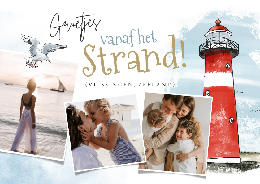 Vakantiekaarten - Vakantiekaart strand nederland vuurtoren fotocollage