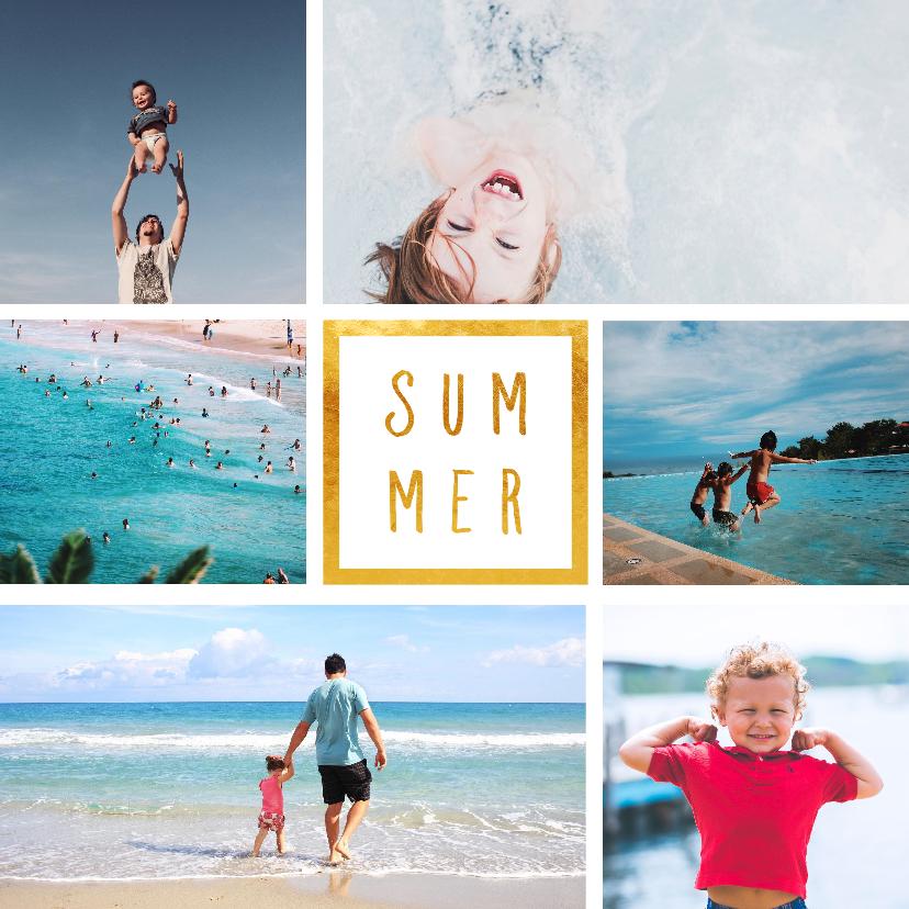 Vakantiekaarten - Vakantiekaart 'Summer' met 6 foto's vierkant
