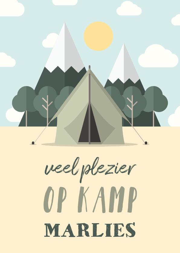 Vakantiekaarten - Vakantiekaart 'Veel plezier op kamp' met bos en tent