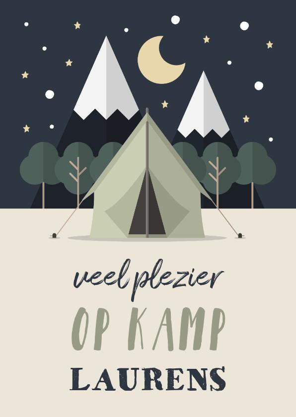 Vakantiekaarten - Vakantiekaart 'Veel plezier op kamp' met tent en bos