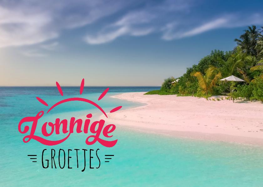Vakantiekaarten - Vakantiekaart zonnige groetjes strand