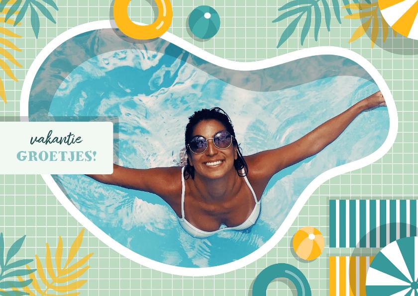 Vakantiekaarten - Vakantiekaart zwembad met foto en aanpasbare tekst