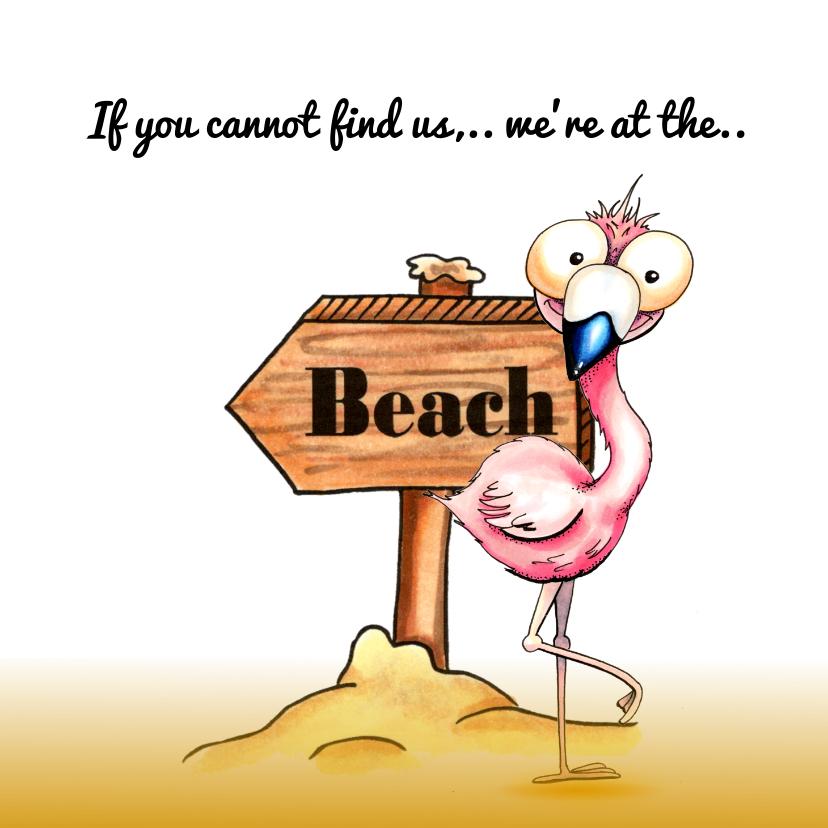 Vakantiekaarten - Vakantiekaarten flamingo op het strand