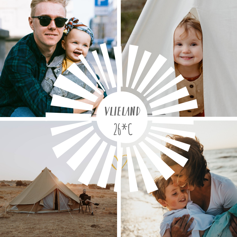 Vakantiekaarten - Vierkante fotocollage vakantiekaart met 4 foto's en zonnetje