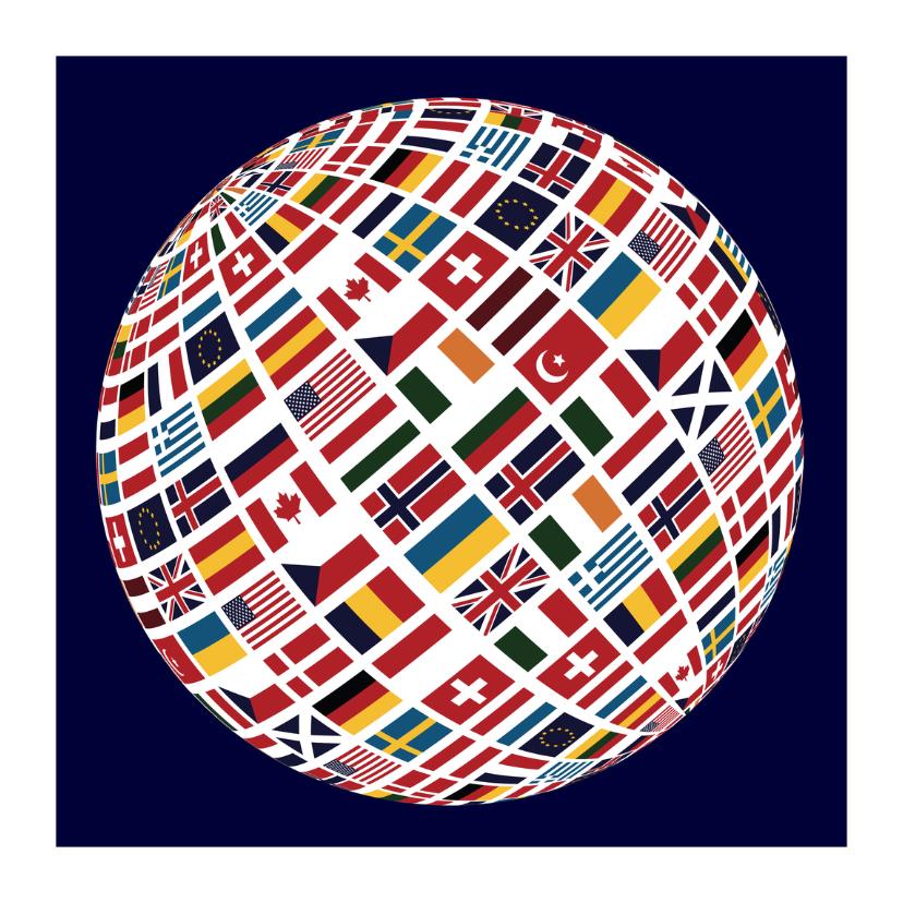 Vakantiekaarten - Vlaggen wereldbol